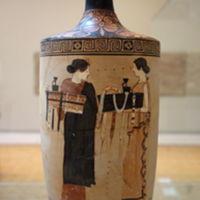 Women preparing funerary baskets, lekythos, timokrates painter.JPG